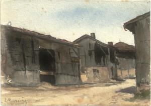 73 - Léon Manière, Courtémont, bâtiments amochés. Aquarelle, 20 mai 1916