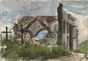76 - Léon Manière, Massiges, L'Eglise. Aquarelle, 4 juin 1916