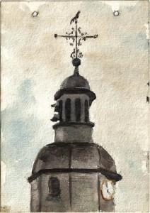 77 - Léon Manière, Sainte-Menehoulde, Clocher de l'église rue Florion pris de ma chambre. Aquarelle, 11 août 1916