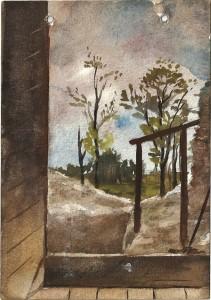 78 - Léon Manière, Beauséjour, Vue prise de mon gourbi sur l'extérieur. Aquarelle, 15 août 1916
