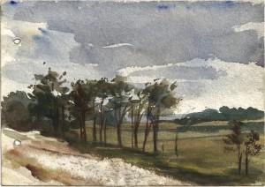 79 - Léon Manière, Beauséjour, Vue de la porte de mon gourbi. Aquarelle, 1- août 1916.