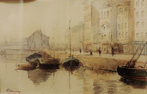 Le port du Havre, aquarelle. - Copie