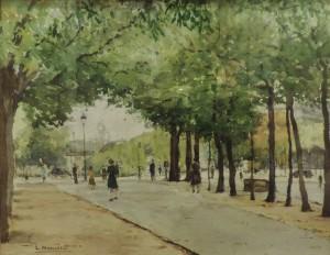 Paris, Jardin du Luxembourg, aquarelle.