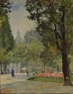 Paris, Jardin du Luxembourg, huile.