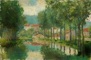 Canal de Bourgogne - Huile sur carton