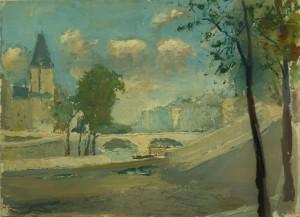 Paris, le pont Saint-Michel et la tour de la préfecture de Police 36 quai des Orfèvres, vus du quai des Grands Augustins - Huile sur carton